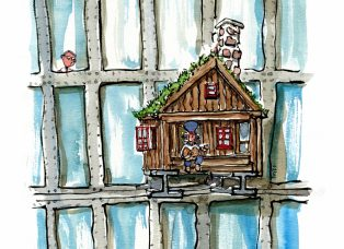 Glass building and wood cabin illustration by Frits Ahlefeldt