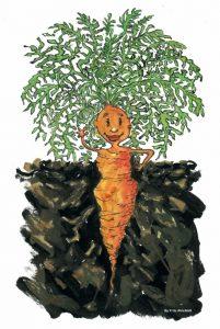 carrot girl smiling illustration by Frits Ahlefeldt