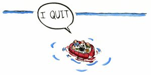 boat at sea with someone saying I quit illustration by Frits Ahlefeldt