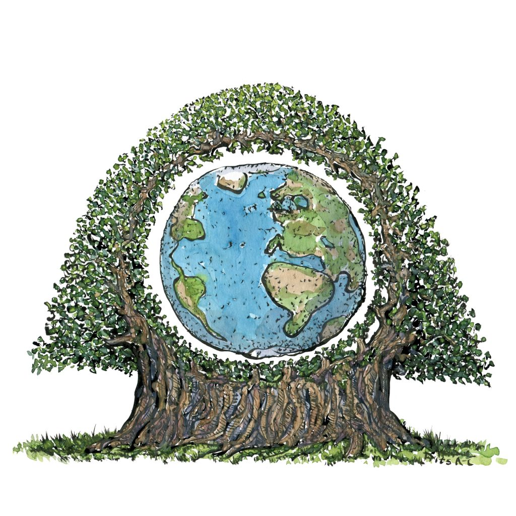 Planet earth inside a tree illustration by Frits Ahlefeldt