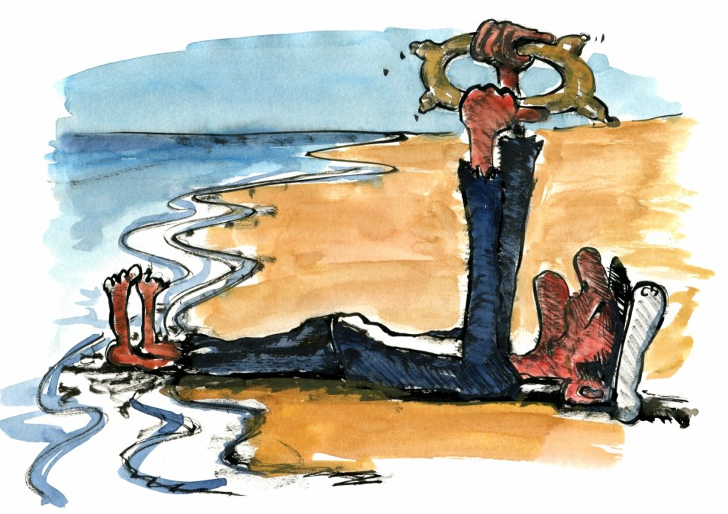 Stranded old sailor on a beach illustration by Frits Ahlefeldt