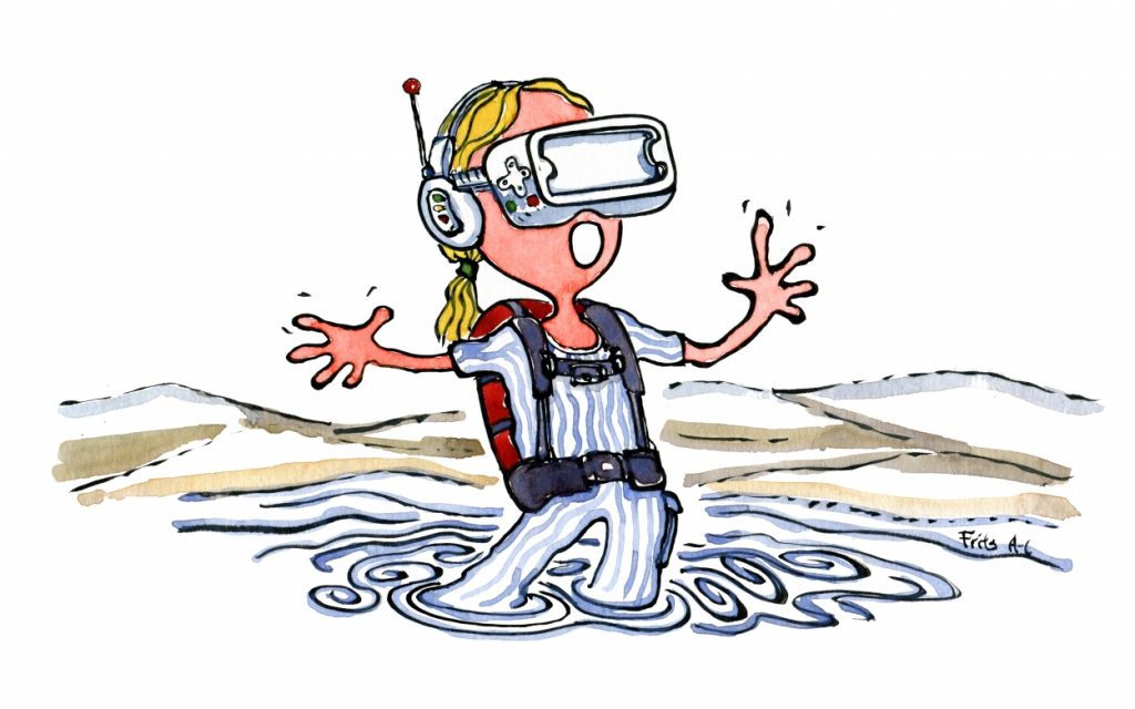 woman with VR mask in digital swamp illustration by Frits Ahlefeldt