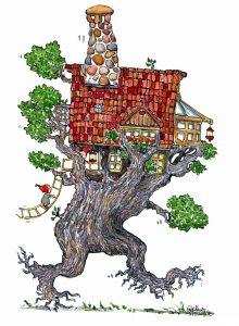 Walking tree house illustration by Frits Ahlefeldt