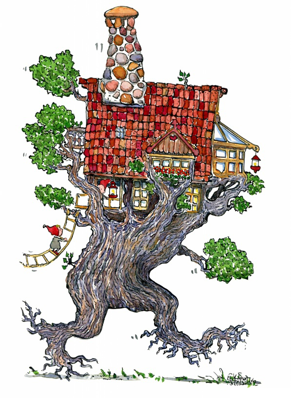 Walking tree house illustration by Frits Ahlefeldt