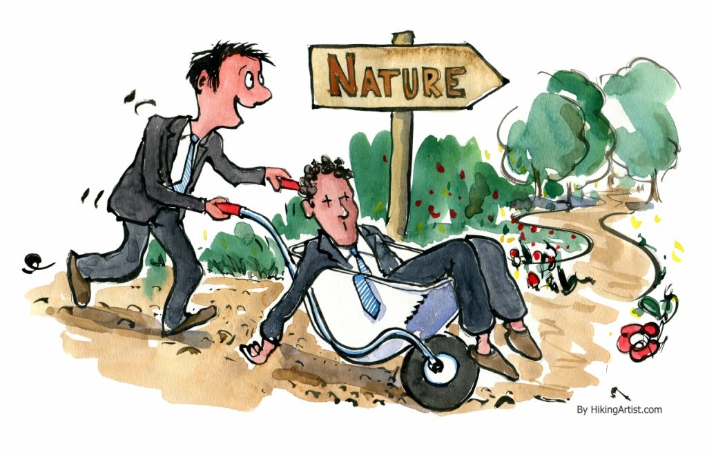 Man driving worn out business man out in nature in a wheelbarrow illustration by Frits Ahlefeldt
