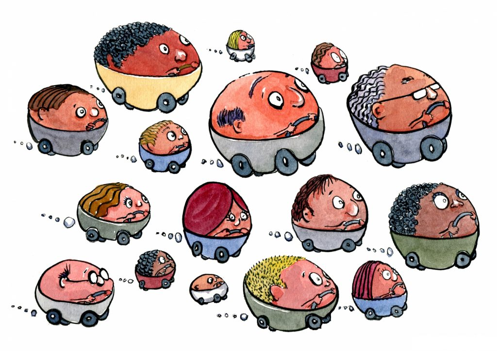 group of bubble cars illustration by Frits Ahlefeldt