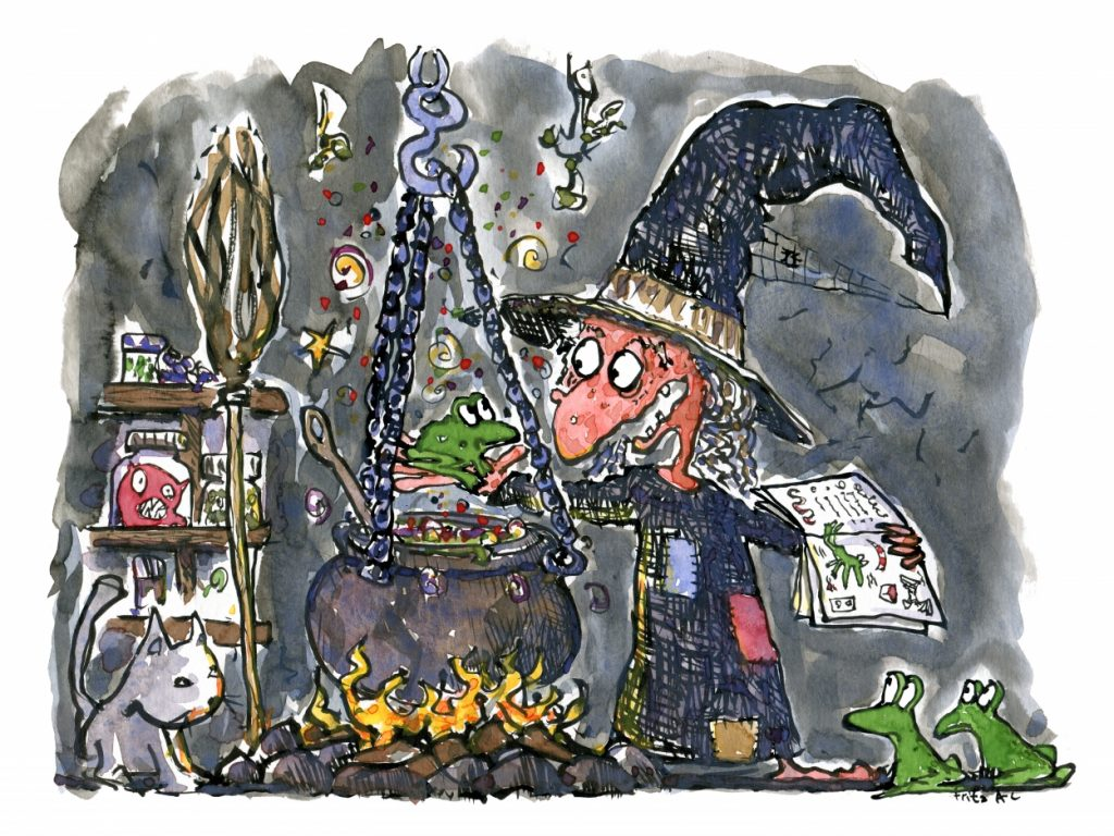 witch in her strange kitchen illustration by Frits Ahlefeldt