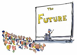 man making lecture about the future illustration by Frits Ahlefeldt