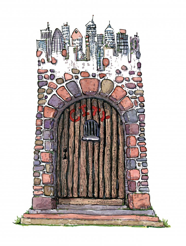 drawing of a city gate illustration by Frits Ahlefeldt