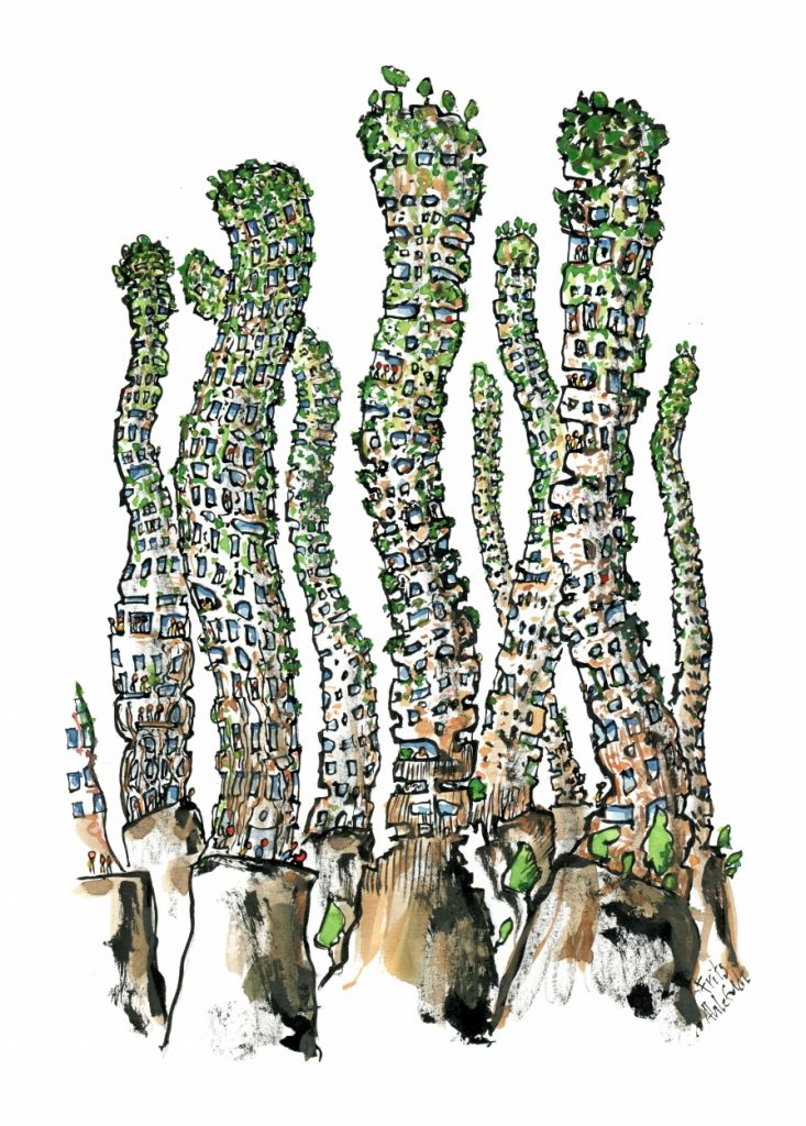 wavering green high buildings illustration by Frits Ahlefeldt