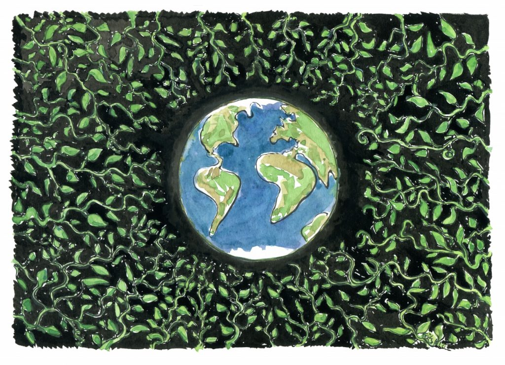 planet Earth surrounded by green leaves