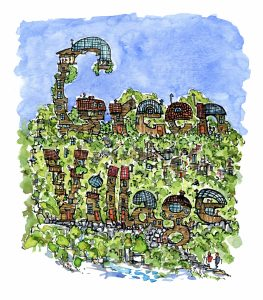drawing of green village spelled in houses illustration by Frits Ahlefeldt