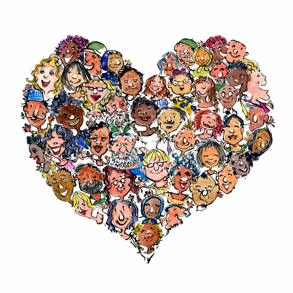 heart with people in it illustration by Frits Ahlefeldt