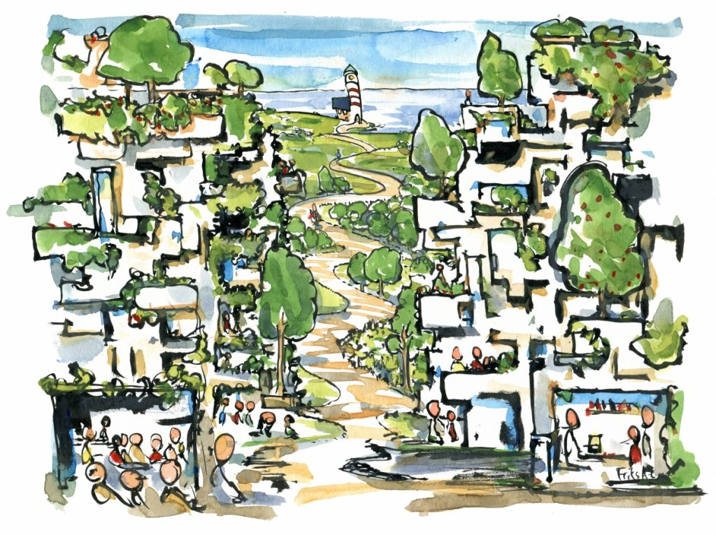 Eco housing illustration by Frits Ahlefeldt