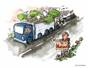hitchhiker going to nature with a truck with trees coming from it illustration by Frits Ahlefeldt