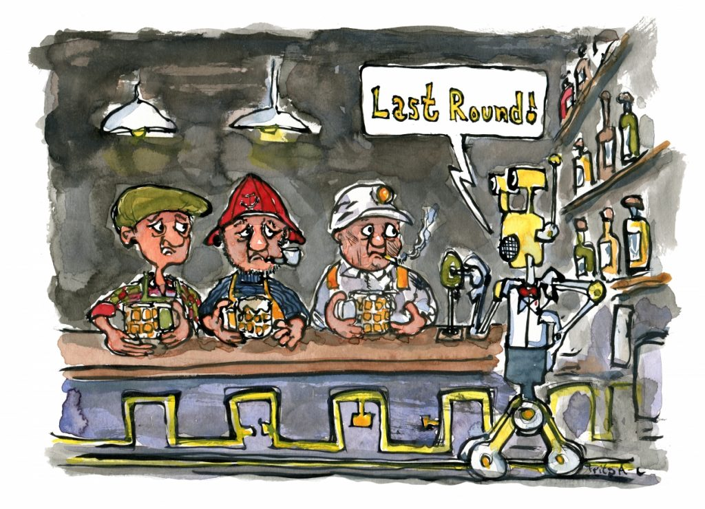 Robot bartender saying last round in the bar illustration by Frits Ahlefeldt