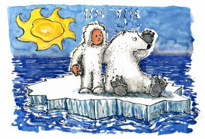 man and polar bear on small ice piece illustration by Frits Ahlefeldt