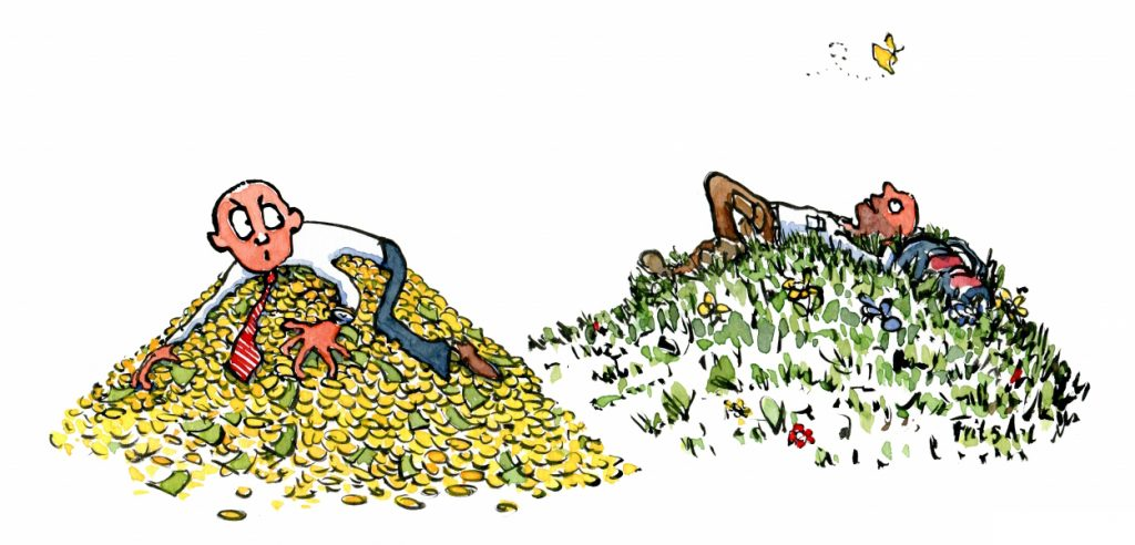 man on heap of money holding on and man on grass looking up illustration by Frits Ahlefeldt