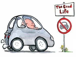 man in his car looking out on the good life on foot illustration by Frits Ahlefeldt