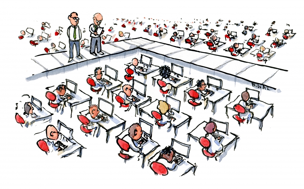 people in rows on computers like in a farm illustration by Frits Ahlefeldt