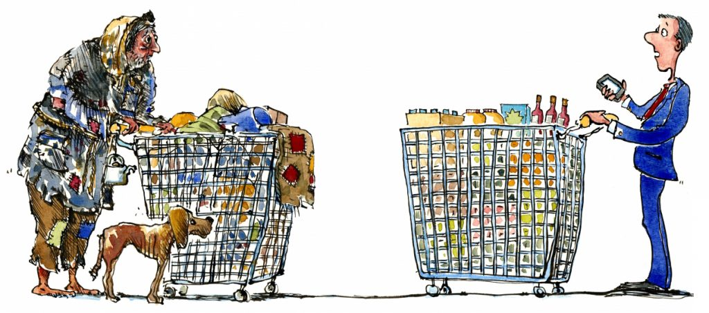 homeless man meet shopper both with shopping wagons illustration by Frits Ahlefeldt