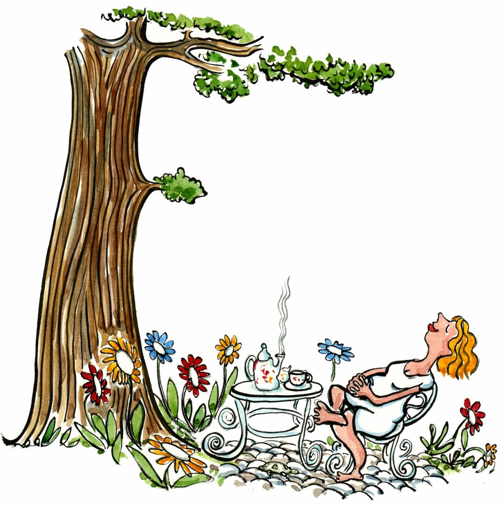 Woman relaxing under at tree illustration by Frits Ahlefeldt