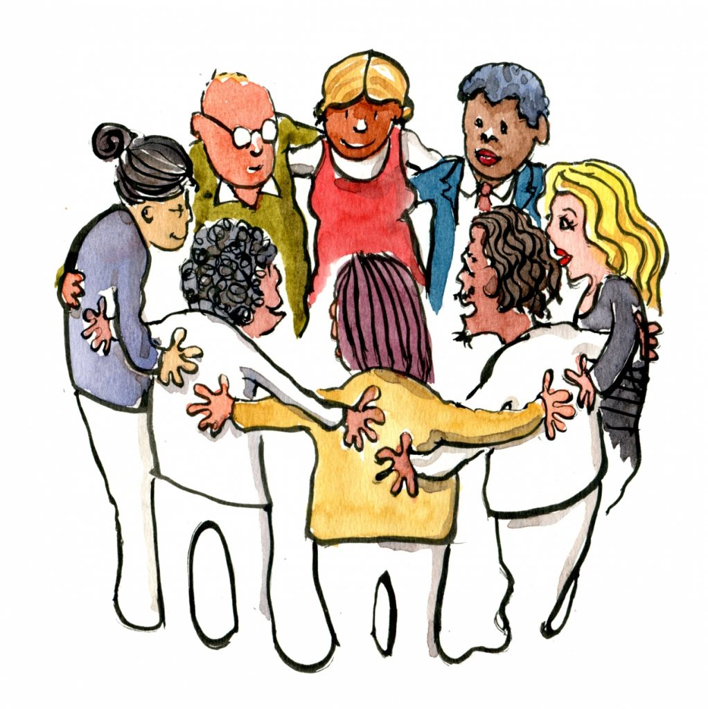 People making group circle illustration by Frits Ahlefeldt