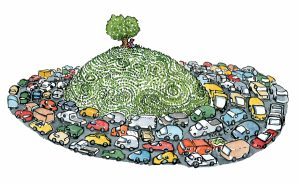 tree on a hill surrounded by cars illustration by Frits Ahlefeldt