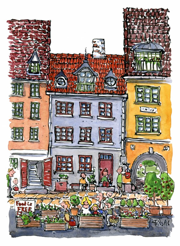 People making green sidewalks illustration by Frits Ahlefeldt